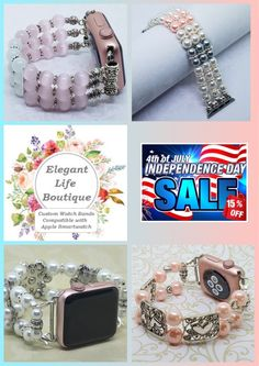4th of July 15% off Sale!! Use coupon code: July4th  Handmade Women's Beaded Bracelet Watch Bands Compatible for Apple Smartwatch (38mm & 42mm) and other Watch faces ~ made in the USA by www.elegantlifeboutique.com  Please visit my Etsy shop @ElegantLifeBoutique #applewatch #fashionideas #etsy #eBay #jewelry #fitness #beauty #4thJuly #beadedjewelry #straps #handmadejewelry #beadedwatchband