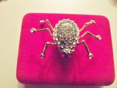 JEWELRY SALE Vintage 80s rhinestone spider pin