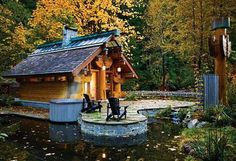 small log cabin...so cool.  Such artistry in the architecture on this one.