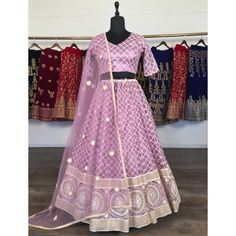 Light purple net heavy lucknowi work wedding lehenga choli