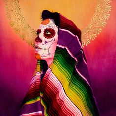 Serape Morado by Sylvia Ji Day Of The Dead Artwork, Day Of The Dead Skull, Sylvia Ji, Catrina Tattoo, Chicano Art, Mexican Art, Mexican Skulls, Canvas Artwork, Canvas Paintings