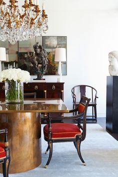Dining Rooms, classical, red chairs, antique chairs, dining areas, dining room design, chandelier, glamour