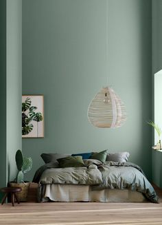 home decor bedroom Modern Earthy Home Decor: Soothing bohemian bedroom with soft pistachio green blue walls and rattan hanging lamp Home Decor Bedroom, Home Bedroom, Room Interior, Bedroom Green, Home Decor, House Interior, Earthy Home Decor, Home Interior Design, Interior Design