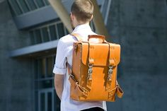 Palmer & Sons have just launched this leather rucksack. Handcrafted in your choice of either 10oz London Tan or Havana Brown Leather, the back is shaped into a robust rectangular cuboid-like shape that loosely resembles a suitcase.