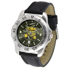 """Wichita State Shockers NCAA AnoChrome """"Sport"""" Mens Watch (Leather Band) by SunTime. $53.10. Rotation Bezel/Timer. Calendar Date Function. Scratch Resistant Face. This handsome, eye-catching watch comes with a genuine leather strap. A date calendar function plus a rotating bezel/timer circles the scratch-resistant crystal. Sport the bold, colorful, high quality logo with pride. The AnoChrome dial option increases the visual impact of any watch with a stunning radial..."""