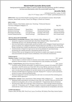 mental health counselor resume objective - Counseling Resume Examples