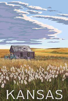 Kansas - Wheat Fields & Homestead - Lantern Press Poster