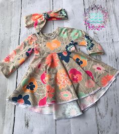 Girl long or elbow sleeves dress and headband High / Low length This dress is available in 0-3 months to 2t size Great baby , toddler outfit And bigger sizes are available by request, please contact me first as price may vary. More prints and solid colors coming soon Also follow me :