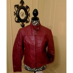 Steve Madden Motorcycle Jacket/ Leather Burgundy 100% Genuine Leather Steve Madden Motorcycle Jacket wore a few times, it has been in storage for some time, please look at the last picture for some wear... NO tear. This is a Large but it can fit a Medium... Steve Madden Jackets & Coats