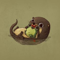 Otter & Frog / Predator & Prey By Alex Solis