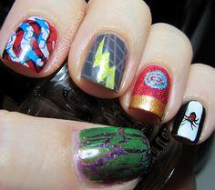 Avengers assemble!  Thumb: Hulk Index: Captain America Middle: Thor Ring: Iron Man Pinkie: Black Widow.