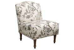 Clark Slipper Chair, Ivory/Sepia