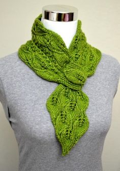 Leaves & Mock Cables Scarf