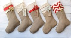Burlap Stocking Embellished with Ivory Satin by TwentyEight12