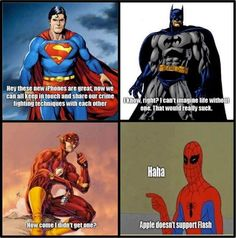 What Superman, Batman and Spiderman think about the iPhone funny Funny Commercials, Funny Ads, Funny Jokes, Funny Cartoons, Nerd Funny, Silly Jokes, Funny Pranks, Funny Texts, Apple Memes