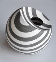 ceramic art clay pottery black and white stripes vessel vase sphere volume by Tomoko Sakumoto