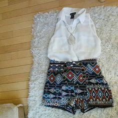 High Waisted Shorts Super cute six decorative button Aztec print high waisted shorts. Worn once. Deb Shorts