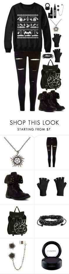 """""""A Very Supernatural Christmas"""" by psycho-doodle-bug ❤ liked on Polyvore featuring River Island, Icebreaker, West Coast Jewelry, MAC Cosmetics and Ardency Inn"""