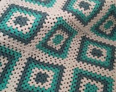 Crochet Afghan Blue Green and White Granny by klickin2kneedles