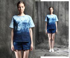 """Купить Джинсовый топ """"Ural"""" - голубой, абстрактный, джинса, джинсовый стиль, джинсовый топ, топ"""