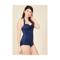 Esther Williams Nautical Halter High Waist Bathing Beauty One-Piece... (€84) ❤ liked on Polyvore featuring swimwear, one-piece swimsuits, blue, foundation, one piece, low cut one piece swimsuit, retro one piece swimsuit, vintage swimsuits, ruched one piece swimsuit and vintage bathing suits