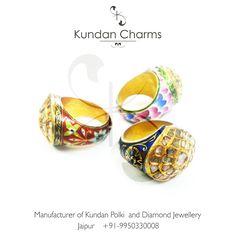 Kundan Polki Rings with Enamel....