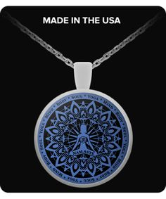 Yoga Namaste Blue Necklace - Yoga, Mind, Body, Soul ***Attach it to your key chain, wallet, purse, hang it on your rear view mirror.  There are endless possibilities for showing off your pendant.