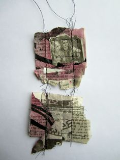 PaperArtsy: 2017 Topic Torn,Ripped and Burnt {Intro and challenge} Mixed Media Collage, Collage Art, A Level Textiles, Tea Bag Art, Art Du Fil, Creative Textiles, Sewing Art, Kirigami, Fabric Art
