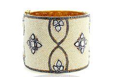 Uncut Rose Cut Diamond Pave Pearl Beaded 14K Gold & Silver Cuff Bangle