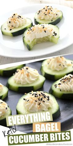 It doesn't get any easier than these delicious keto cucumber appetizers! Fresh cucumber slices with cream cheese and everything bagel seasoning. The perfect low carb snack for hot summer days. snacks low carb Everything Bagel Cucumber Bites Cucumber Appetizers, Cucumber Bites, Cucumber Salad, Cucumber Juice, Cucumber Recipes, Veggie Snacks, Vegetarian Appetizers, Delicious Appetizers, Low Carb Appetizers
