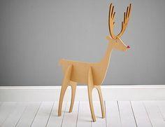 Resultado de imagen para reno de carton molde adornos for Trineo madera decoracion