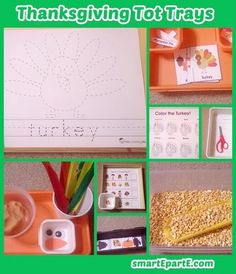 For a shortened week of home tot school we did these eight fun Thanksgiving tot school activities! Make a dough turkey, and see helpful printables. Thanksgiving Activities For Kids, Pre K Activities, Alphabet Activities, Holiday Activities, Thanksgiving Crafts, Tot Trays, School Themes, Special Needs Kids, Tot School