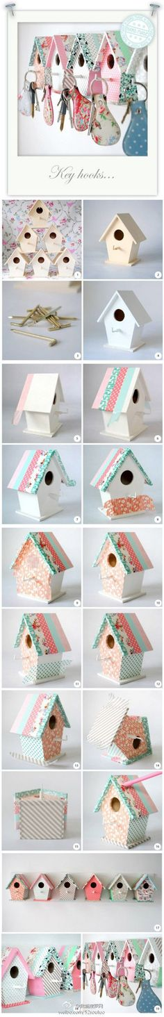 Projects with washi tape: decorate wooden houses & replace post with hook for keys
