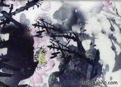 Italian Digital Printed Silk Asian Floral Fabric White