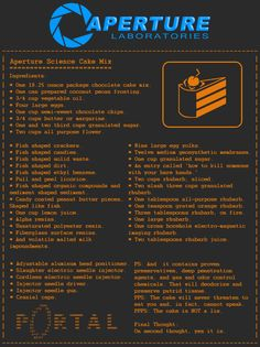 Um, I need to bake this? Aperture Science Cake Mix by ~nizmoe on deviantART