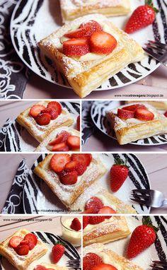 Blätterteigecken mit Erdbeeren und Vanillepudding