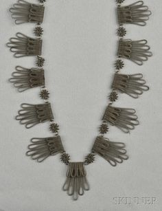 FINE JEWELRY - SALE 2624B - LOT 208 - ANTIQUE SILESIAN WIREWORK NECKLACE, DESIGNED AS A FRINGE OF FINELY WOVEN WIRE JOINED BY FINELY COILED WIRE BOSSES, LG. 19 IN. - Skinner Inc