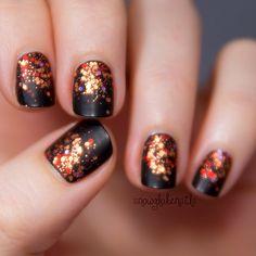 Beauty Inspiration | Fall Glitter #pmtsmichigan #paulmitchellschools #nails #nailart #sparkly #black #red #orange #gold