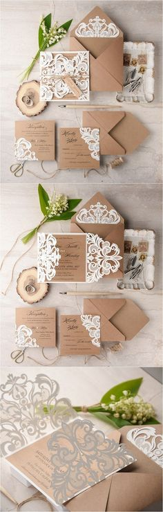 Ivory kraft paper laser cut rustic wedding invitations 01LuctCz