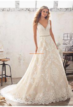 A-linie Traumhafte Glamouröse Brautkleider aus Tüll mit Applikation