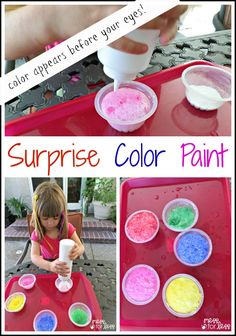 Surprise Color Sidewalk Paint - This paint recipe is so much fun to make because kids have no idea what color they will be making until it after it erupts!