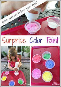 surpris color, color sidewalk, sidewalk paint, kids crafts activities, paint recipes