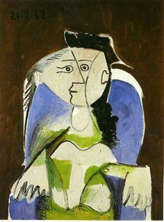 Woman sitting in blue armchair par Pablo Picasso