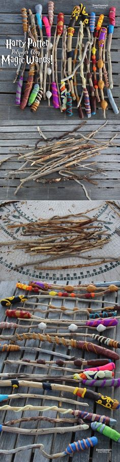 , DIY and Crafts, Harry Potter Week! Polymer clay and sticks make the most unique wizard wands! Harry Potter Fiesta, Harry Potter Day, Classe Harry Potter, Harry Potter Halloween, Harry Potter Birthday, Baguettes Harry Potter, Harry Potter Bricolage, Harry Potter Activities, Harry Potter Classroom