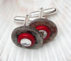 Dla Niego...spinki z muszlą, srebro - Maggia-Art - Spinki do mankietów