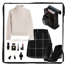 """""""Black School Days"""" by begumbs on Polyvore featuring moda, Vanessa Seward, GUESS, Dr. Martens, Barry M, Avon, Christian Louboutin, NARS Cosmetics, Nach Bijoux ve CLUSE"""