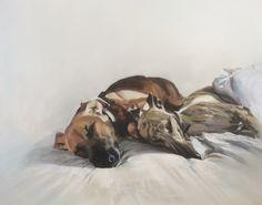 Cuddles oil on canvas by Julie Brunn #dog #whippet #lurcher