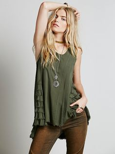 Free People Ruffled Up Cami, $68.00 hi-low hem, ruffled inset at sides, four princess seam lines on both front and back