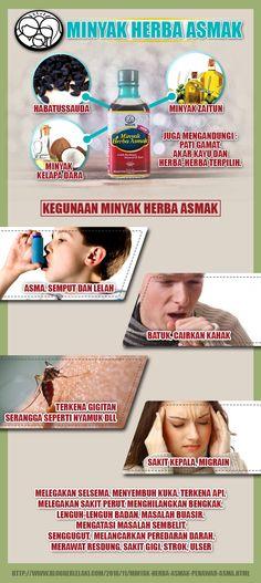 infografik ringkas tentang kandungan dan kegunaan minyak herba asmak