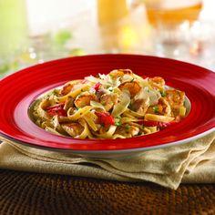 Guy Fieri's Cajun Chicken Alfredo  http://www.foodnetwork.com/recipes/cajun-chicken-alfredo-recipe/index.html